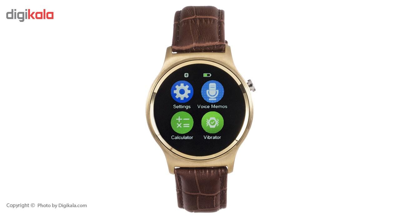 ساعت هوشمند تی تی وای جی موو مدل GW01 gold with brown leather strap