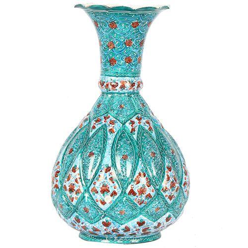 گلدان مسی میناکاری گالری گوهران مدل شلغمی شاه عباسی - 9