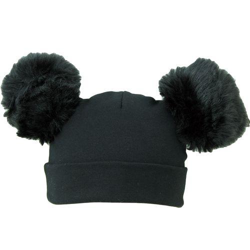 کلاه استرج پوم پوم دار مدل مشکی