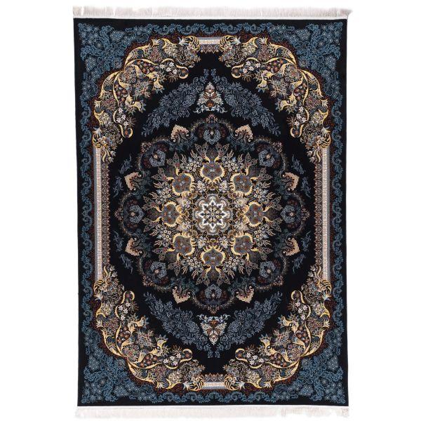 فرش ماشینی آدینا طرح گیسو زمینه سرمه ای