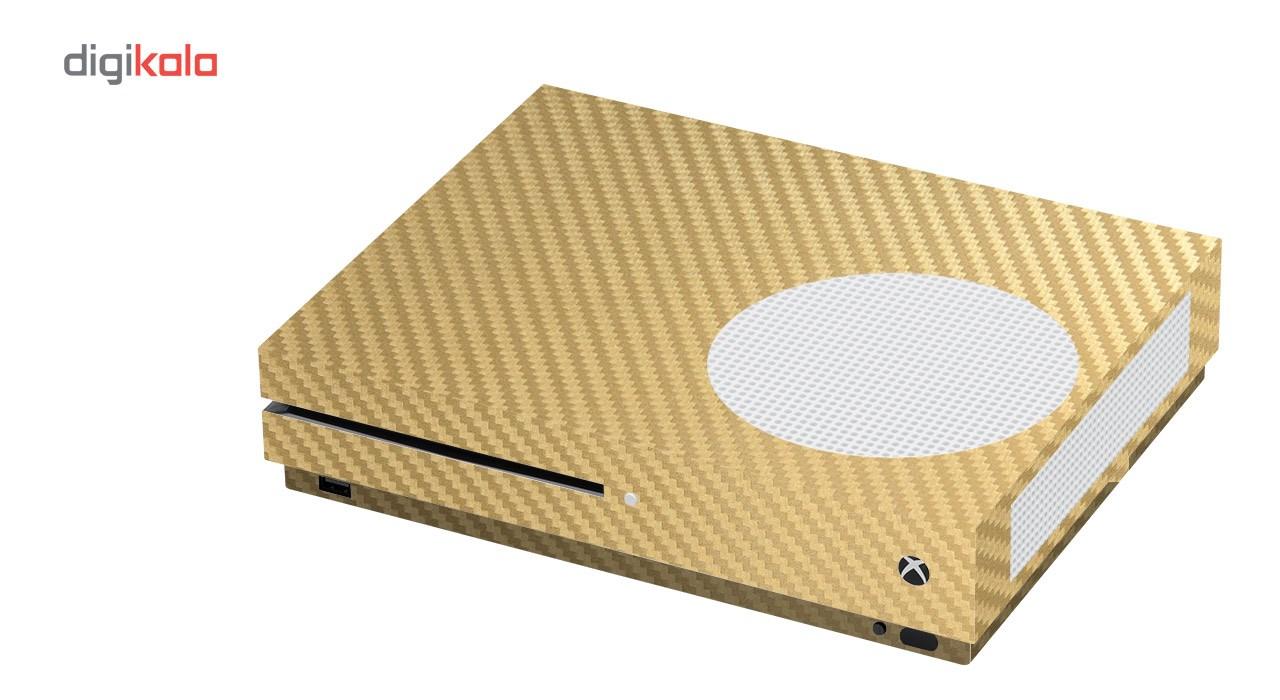 برچسب ماهوت مدلGold Carbon-fiber Texture مناسب برای کنسول بازی Xbox One S