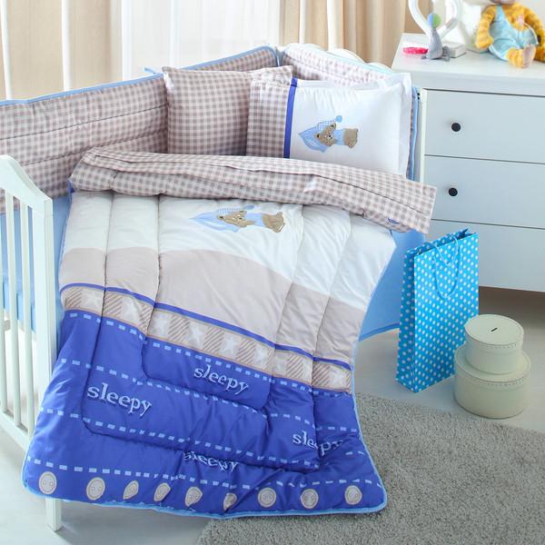 سرویس لحاف 8 تکه خواب نوزاد ازدیلک سری رنفورس گلدوزی و تکه دوزی طرح  Sleep bear
