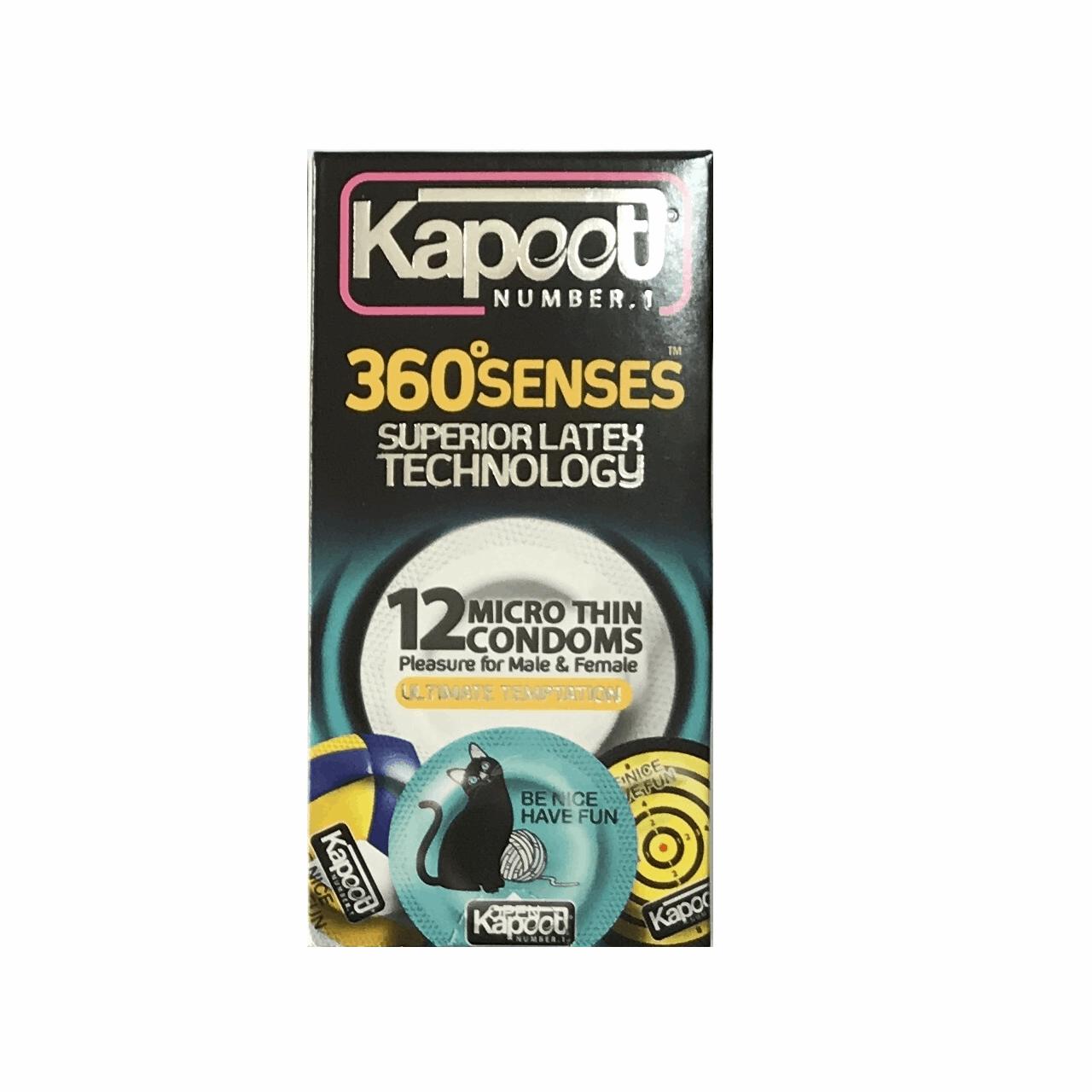 عکس کاندوم تحریک کننده کاپوت مدل 360 Senses بسته 12 عددی