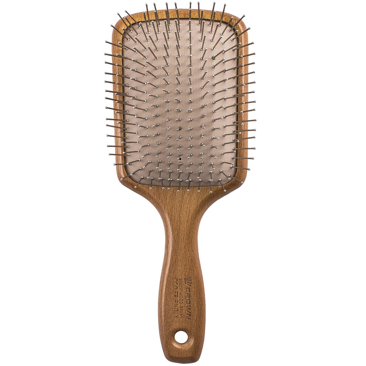 برس مو کراون مدل سیمی چهارگوش با بدنه چوبی BEECHWOOD S کد 32