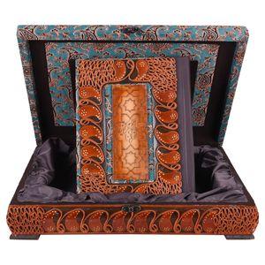 جعبه و قرآن لبه طلایی  پایاچرم طرح ساتن  مدل 01-07 سایز بزرگ