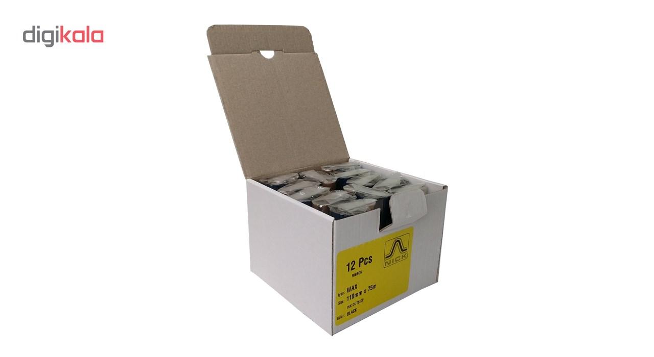 قیمت                      ریبون پرینتر لیبل زن نیک مدل WAX 110mm x 75m بسته 12 عددی