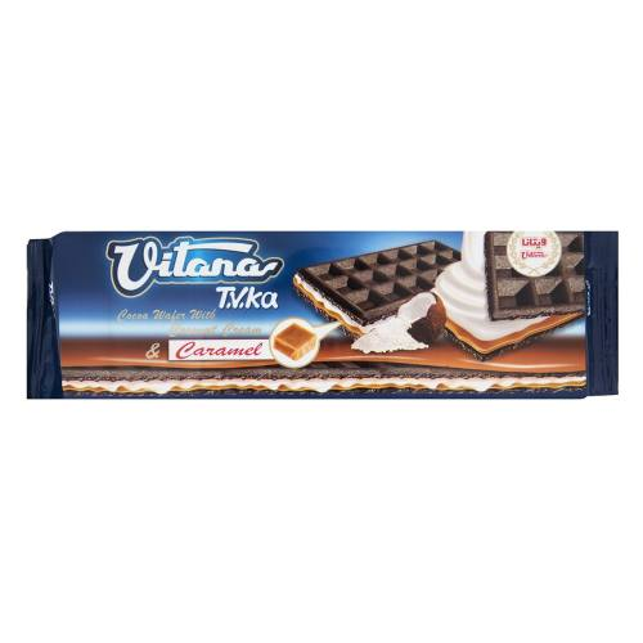 ویفر کاکائویی با لایه نازک کرم نارگیلی و کارامل ویتانا مقدار 200 گرم