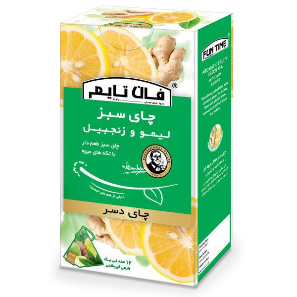 چای دسر سبز طعم دار با تکه های میوه لیمو و زنجبیل فان تایم بسته 12 عددی