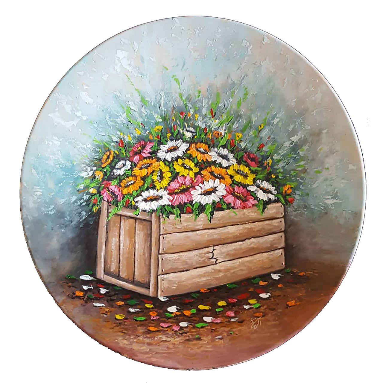 بشقاب دیوارکوب سفالی طرح جعبه گل بهاری کد AAM021
