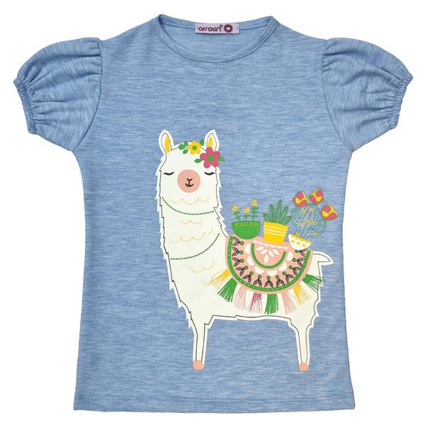 تی شرت دخترانه افراتین مدل لاما رنگ آبی