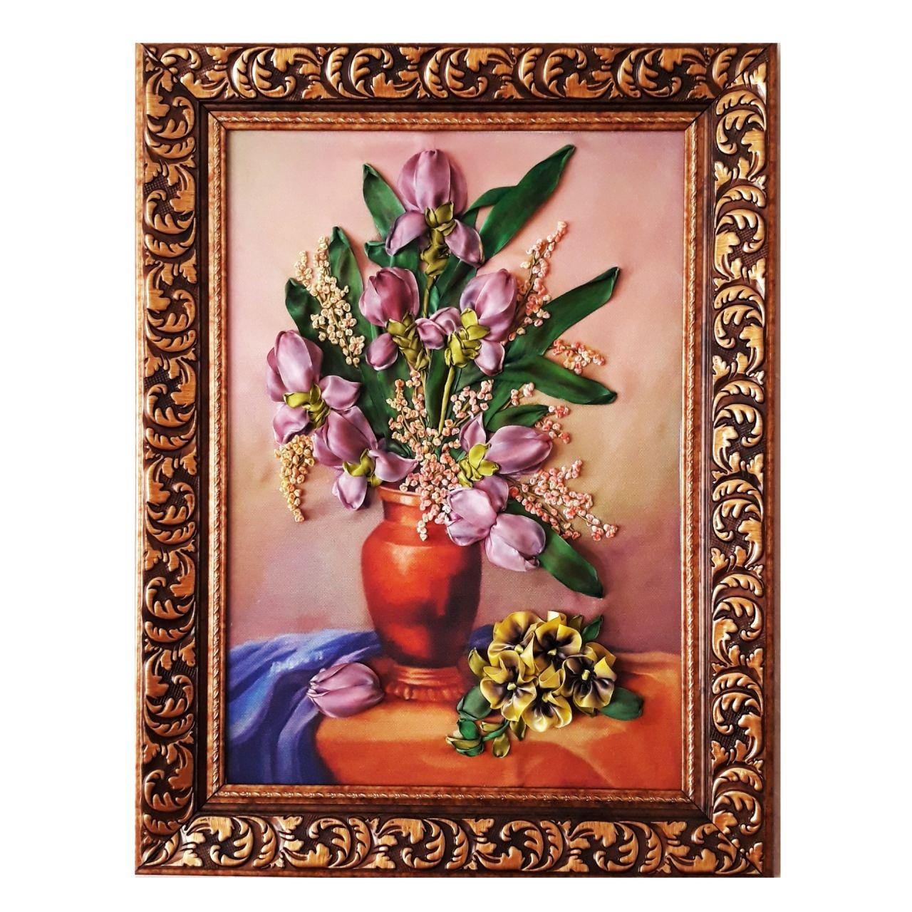 تابلو روبان دوزی مدل گل زنبق کد ۰۰۱
