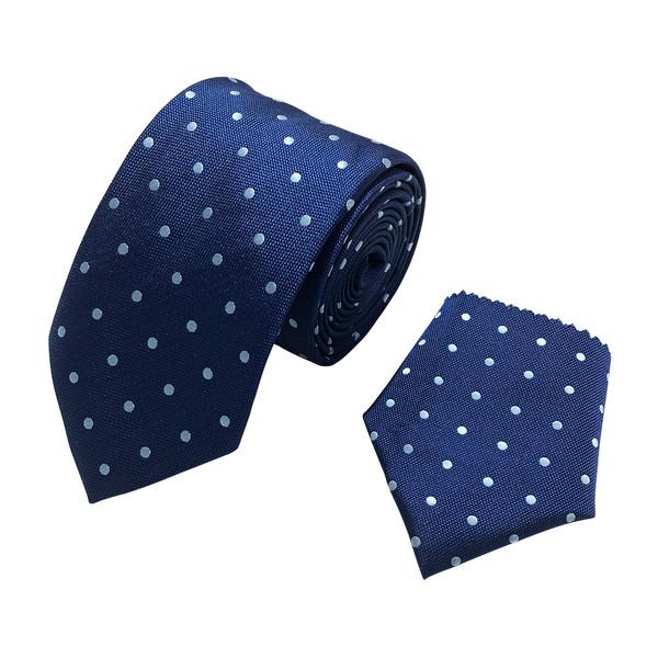 ست کراوات و دستمال جیب مردانه مدل TL-NAVY