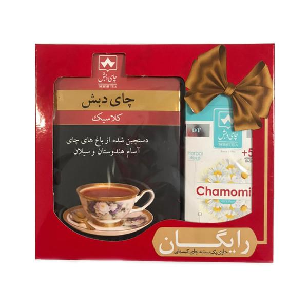 چای کلاسیک چای دبش - 500 گرمی و دمنوش کیسه ای بابونه دبش بسته 25 عددی