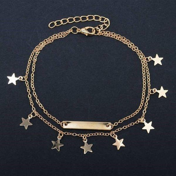 پابند طلا 18 عیار زنانه قیراط طرح ستاره کد GH607