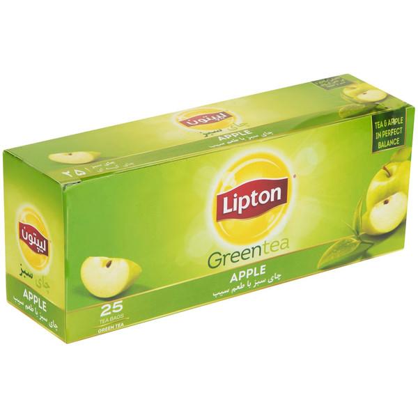 چای سبز کیسه ای لیپتون مدل Apple بسته 25 عددی