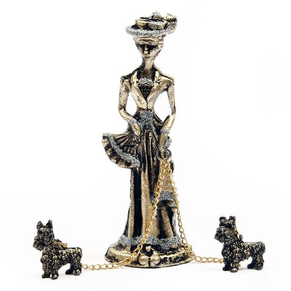 مجسمه فلزی پرنسس با سگ آرت کن مدل MB1040