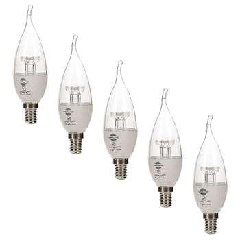 لامپ ال ای دی 6 وات اشکی زینتی شفاف پارس شهاب پایه E14  بسته 5  عددی