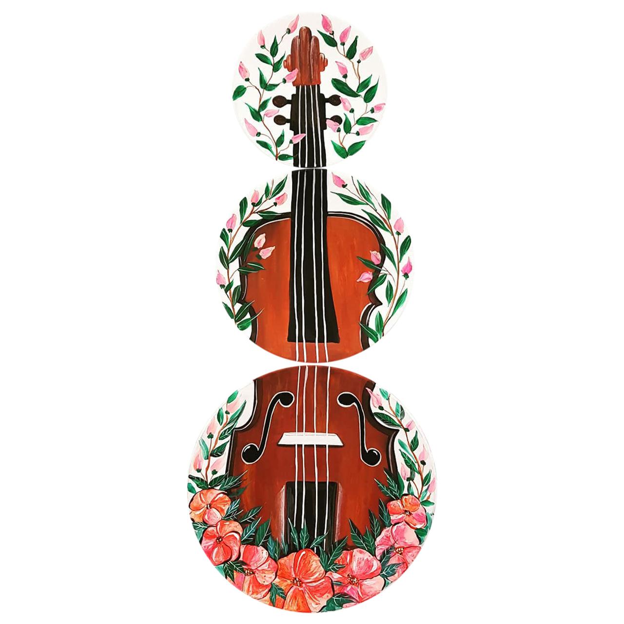 خرید                       بشقاب دیوارکوب سفالی طرح گیتار کد D116-A مجموعه 3 عددی