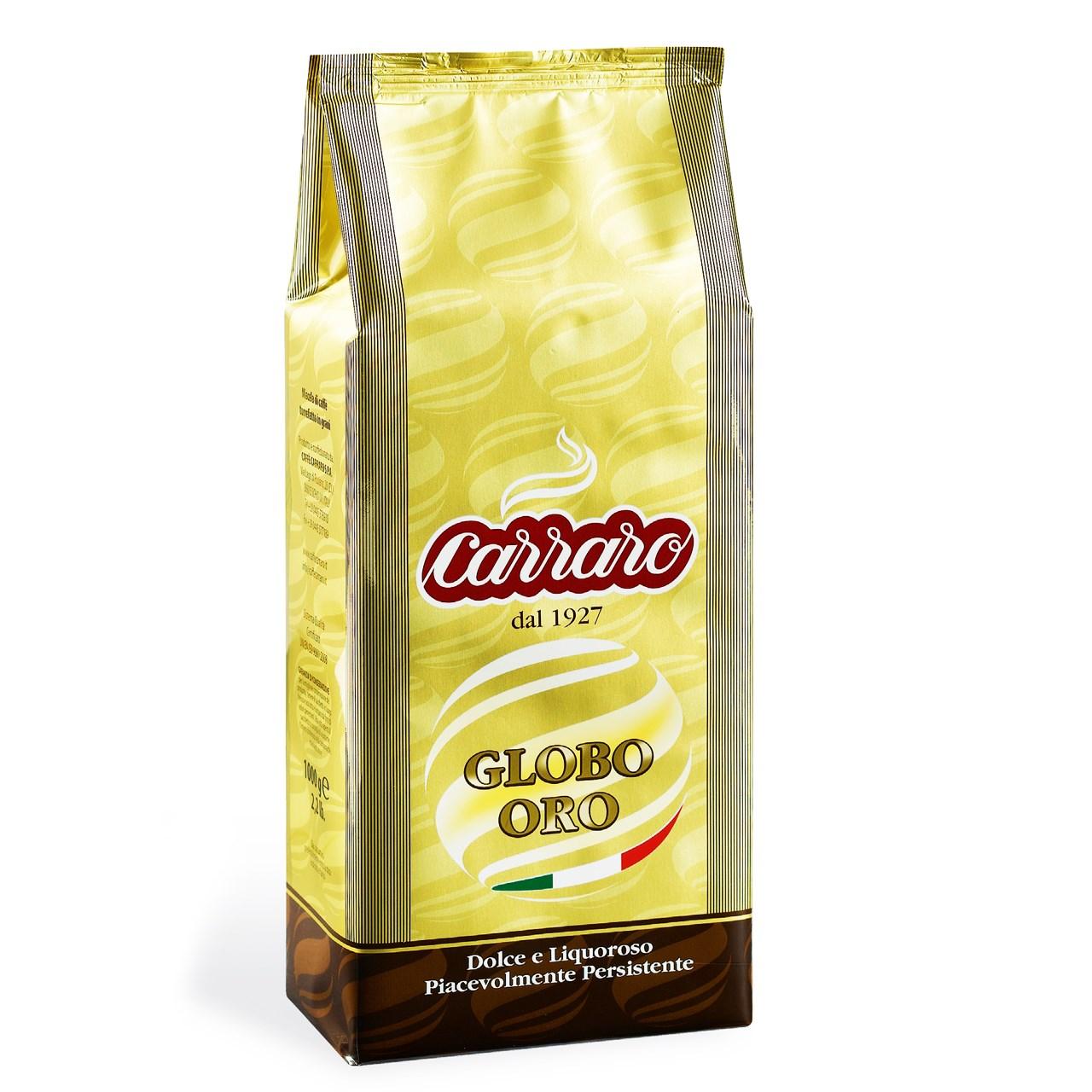 بسته دانه قهوه کارارو مدل GLOBO ORO  مقدار  1000 گرم