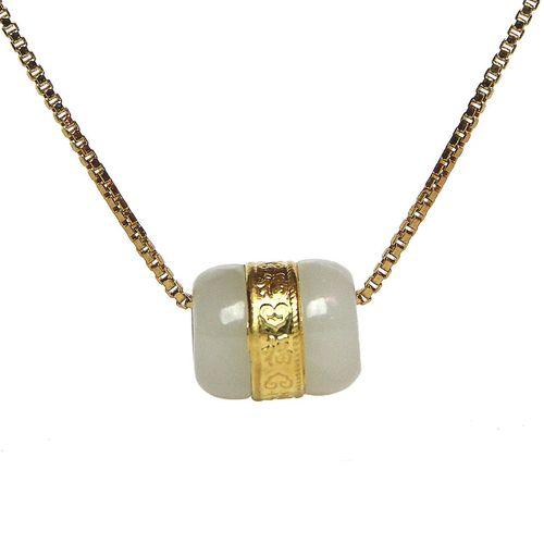 گردنبند ماربلین طرح اسپرت یشم و طلا کد GJ104
