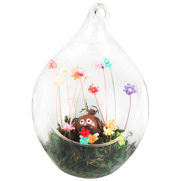 گل ماندگار به همراه گلدان شیشه ای عرش مدل B-118