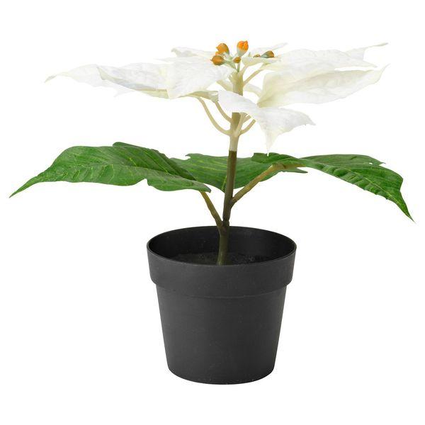 گلدان به همراه گل مصنوعی ایکیا مدل White Fejka