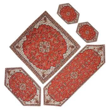ست 5 تکه رومیزی ترمه یزد طرح شاه عباسی