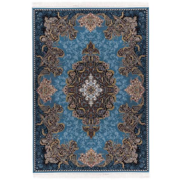 فرش ماشینی آدینا طرح شهرزاد زمینه آبی