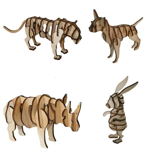 پازل سه بعدی چوبی 80 تکه برتاریو مدل سری حیوانات 2