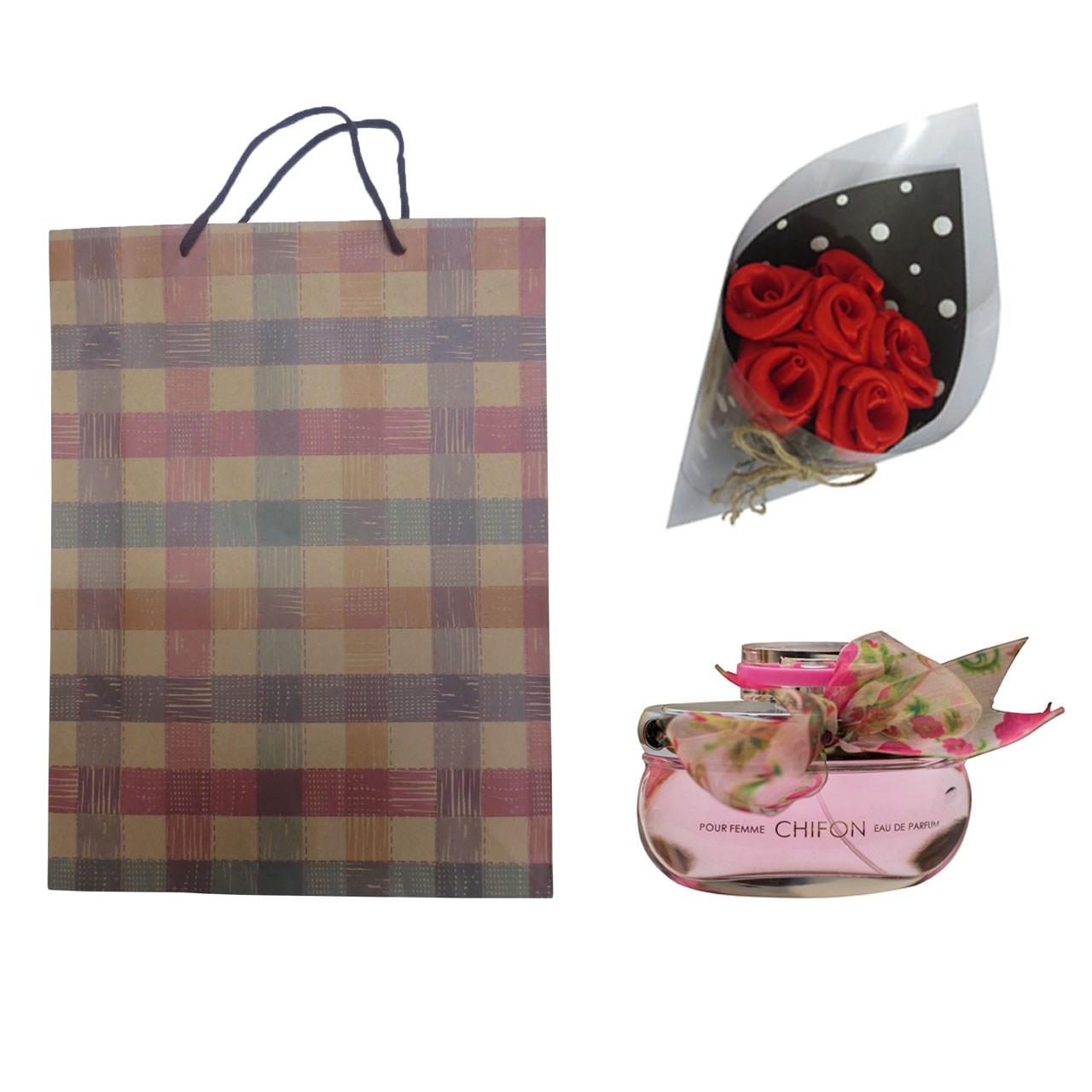 ست هدیه ادو پرفیوم زنانه امپر مدل Chifon حجم 100 میلی لیتر به همراه دسته گل مصنوعی F1  و کیف هدیهB1
