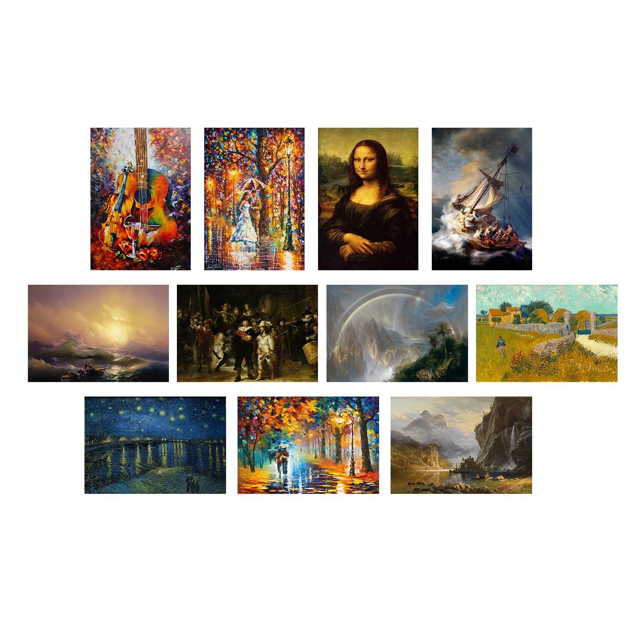تابلو شاسی گالری هنری پیکاسو طرح مجموعه 11 عددی معروف ترین نقاشی های جهان شماره2