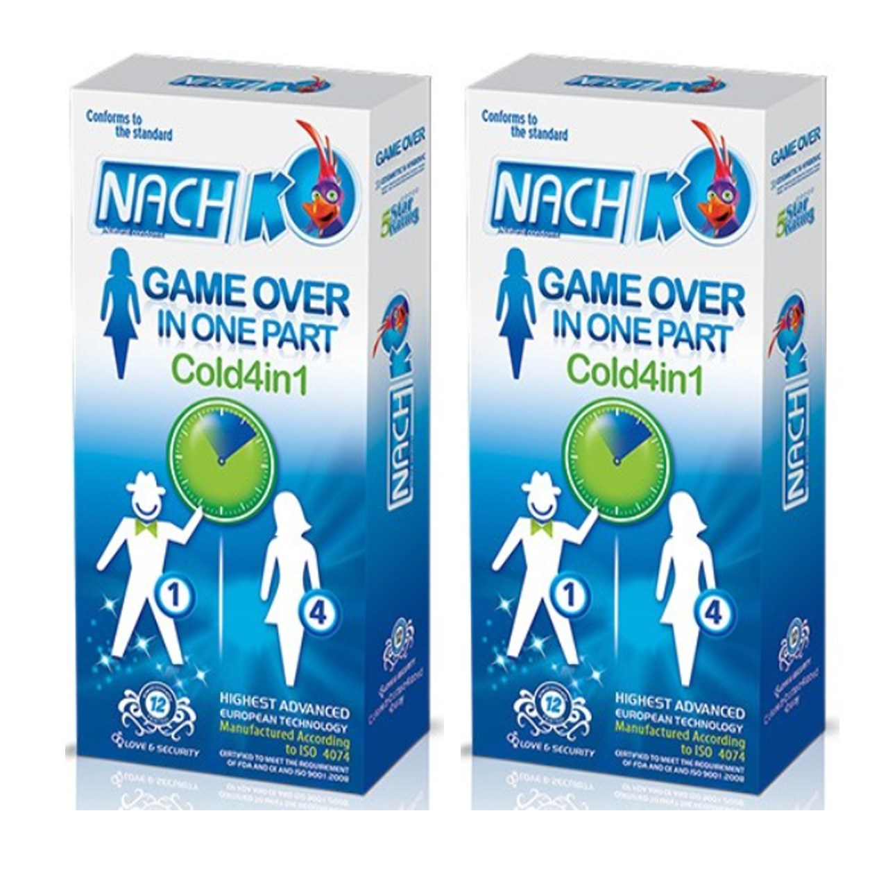 قیمت کاندوم کدکس مدل Game Over In One Part Cold 4in1 دو بسته 12 عددی