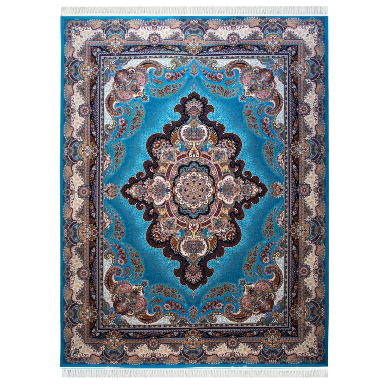 فرش ماشینی احتشامیه طرح ستاره  زمینه آبی