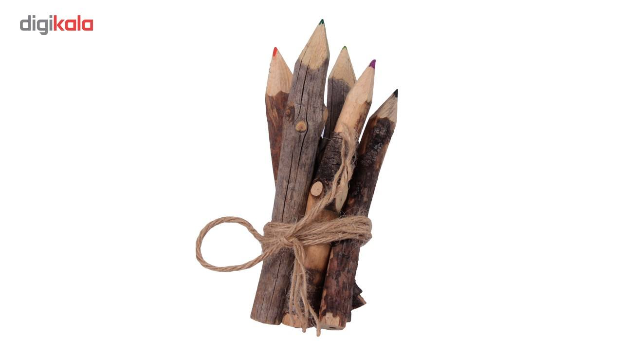 خرید لوازم تحریر فانتزی - مداد فانتزی مداد رنگی چوبی 6 رنگ گالری روح چوب مدل4