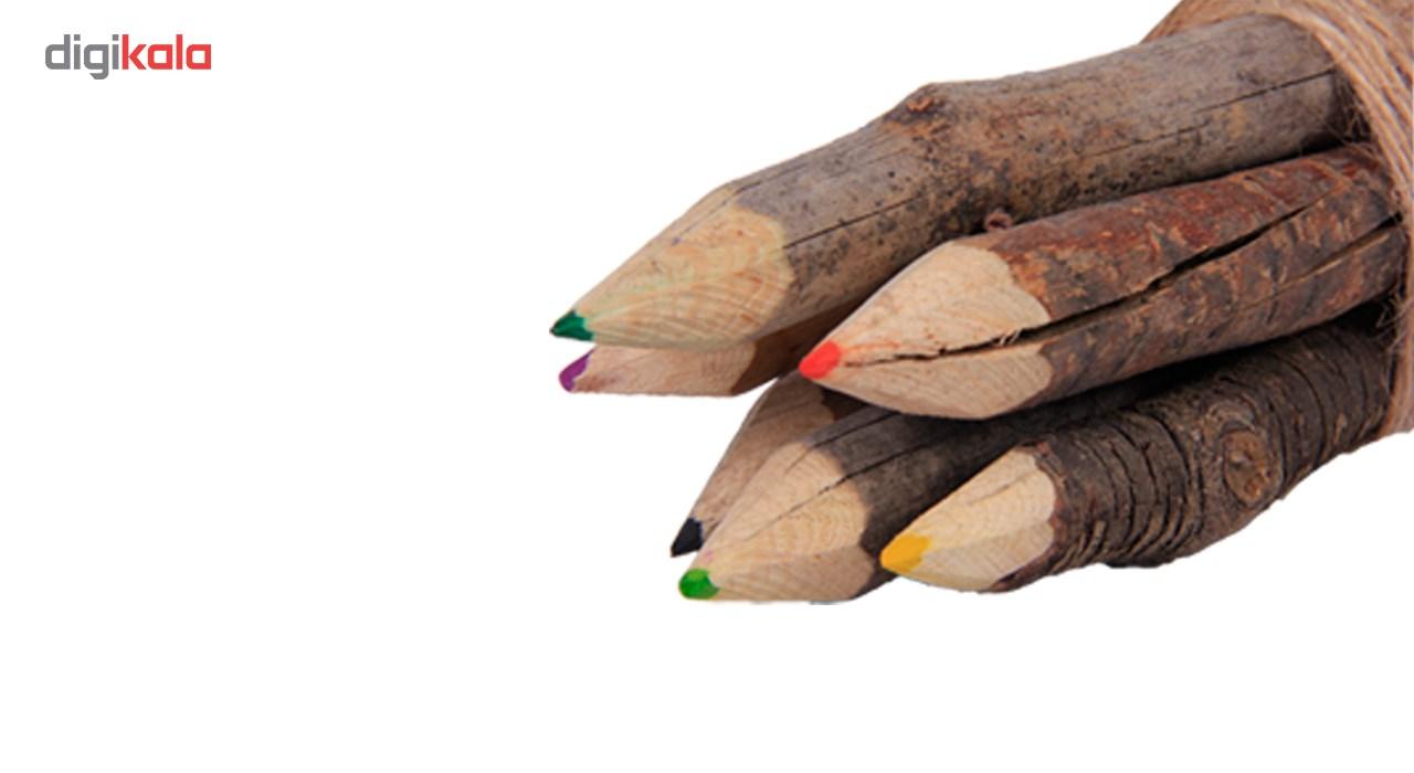 خرید لوازم تحریر فانتزی - مداد فانتزی مداد رنگی چوبی 6 رنگ گالری روح چوب مدل3