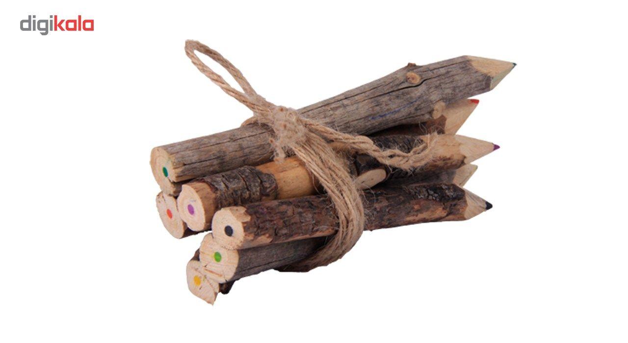 خرید لوازم تحریر فانتزی - مداد فانتزی مداد رنگی چوبی 6 رنگ گالری روح چوب مدل5