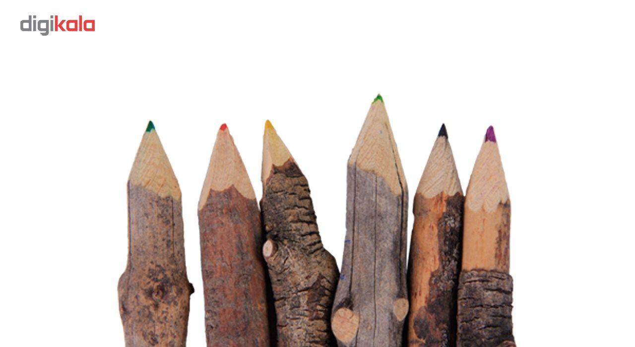 خرید لوازم تحریر فانتزی - مداد فانتزی مداد رنگی چوبی 6 رنگ گالری روح چوب مدل2