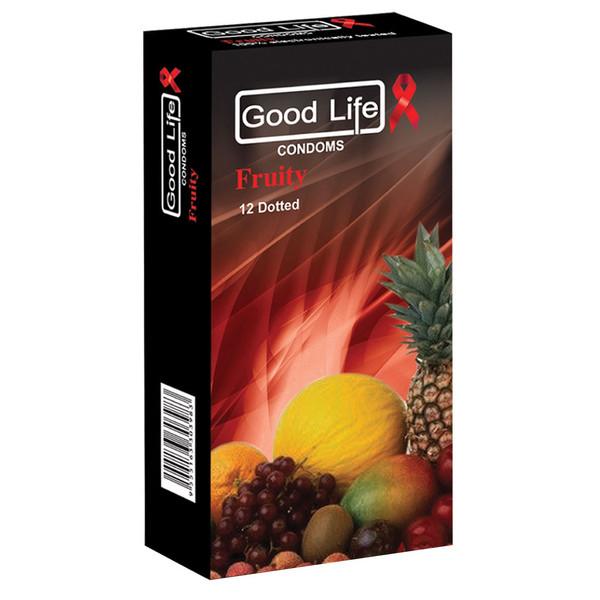 کاندوم گودلایف مدل میوه ای fruity Dotted  بسته 12 عددی