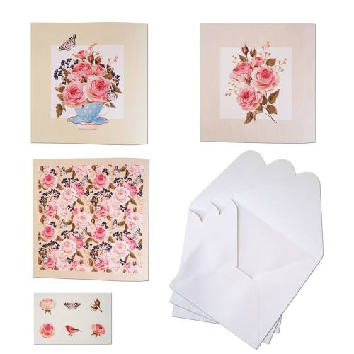 کارت پستال ستوده طرح گل و پروانه کد 051 بسته 3 عددی