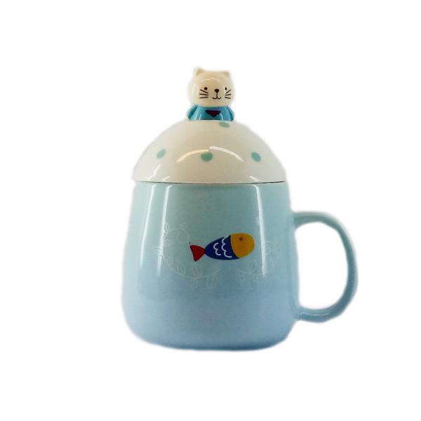 ماگ سرامیکی آبی عمیق مدل کودک همراه قاشق