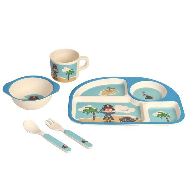 ست 5 تکه ظرف غذای کودک نورینو مدل دریانورد آبی