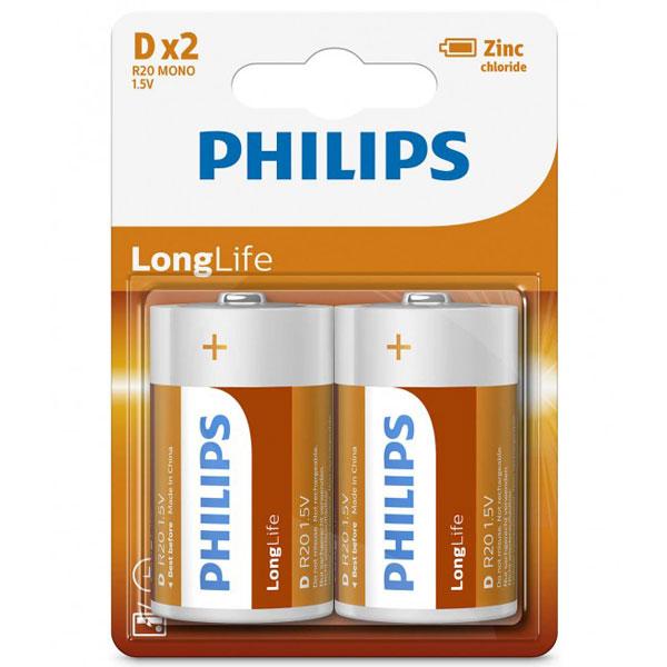 بررسی و {خرید با تخفیف}                                     باتری D فیلیپس مدل R20L2B/97 بسته 2 عددی                             اصل
