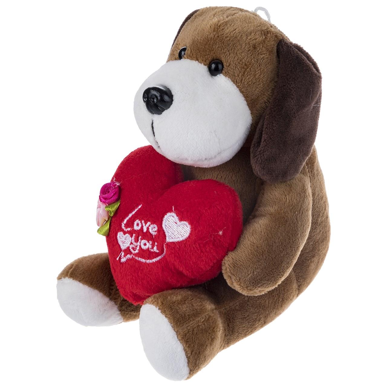 عروسک یاران مدل سگ قلب به دست ارتفاع 15 سانتی متر