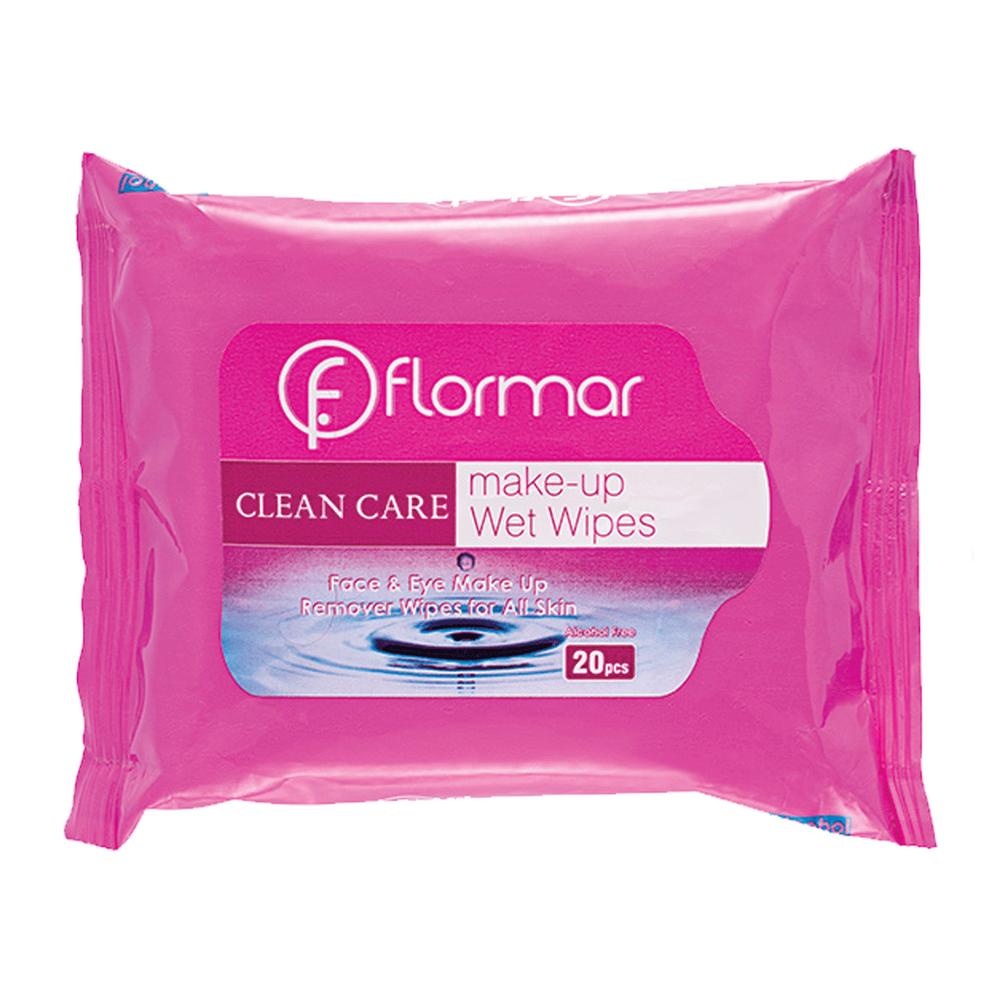 دستمال مرطوب پاک کننده آرایش فلورمار مدل انواع پوست بسته 20 عددی