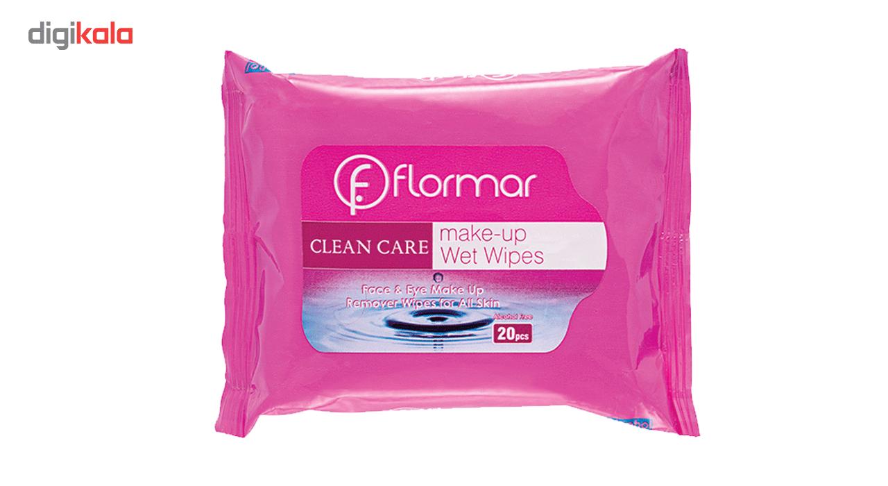دستمال مرطوب پاک کننده آرایش فلورمار مدل انواع پوست بسته 20 عددی -  - 2