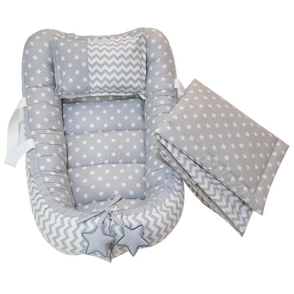 سرویس3 تکه خواب نوزادی آویراد طرح ستاره و زیگزاگ  کد ASZ0004