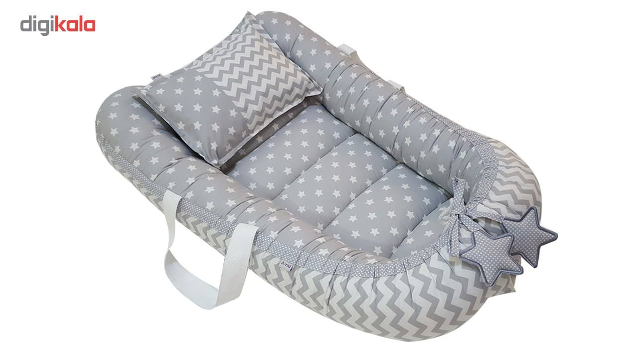 سرویس3 تکه خواب نوزادی آویراد طرح ستاره و زیگزاگکد ASZ0004