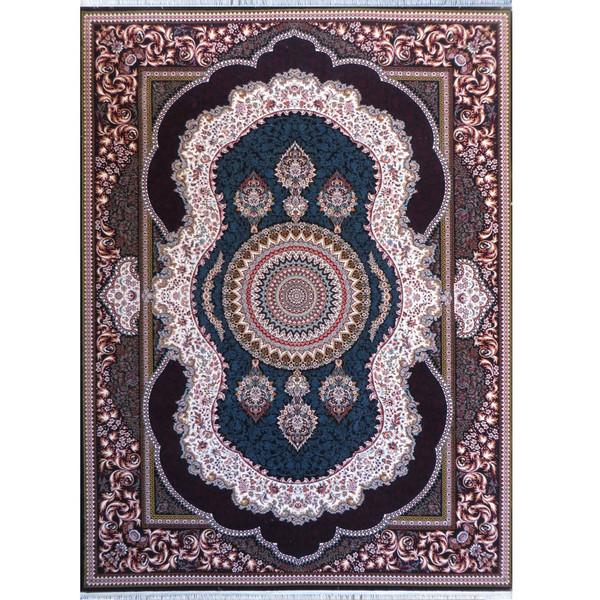 فرش ماشینی پارسه طرح اهورا کد FSM128 زمینه سورمه ای