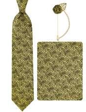 ست کراوات و دستمال جیب و گل کت مردانه جیان فرانکو روسی مدل GF-PA928-GO -  - 1
