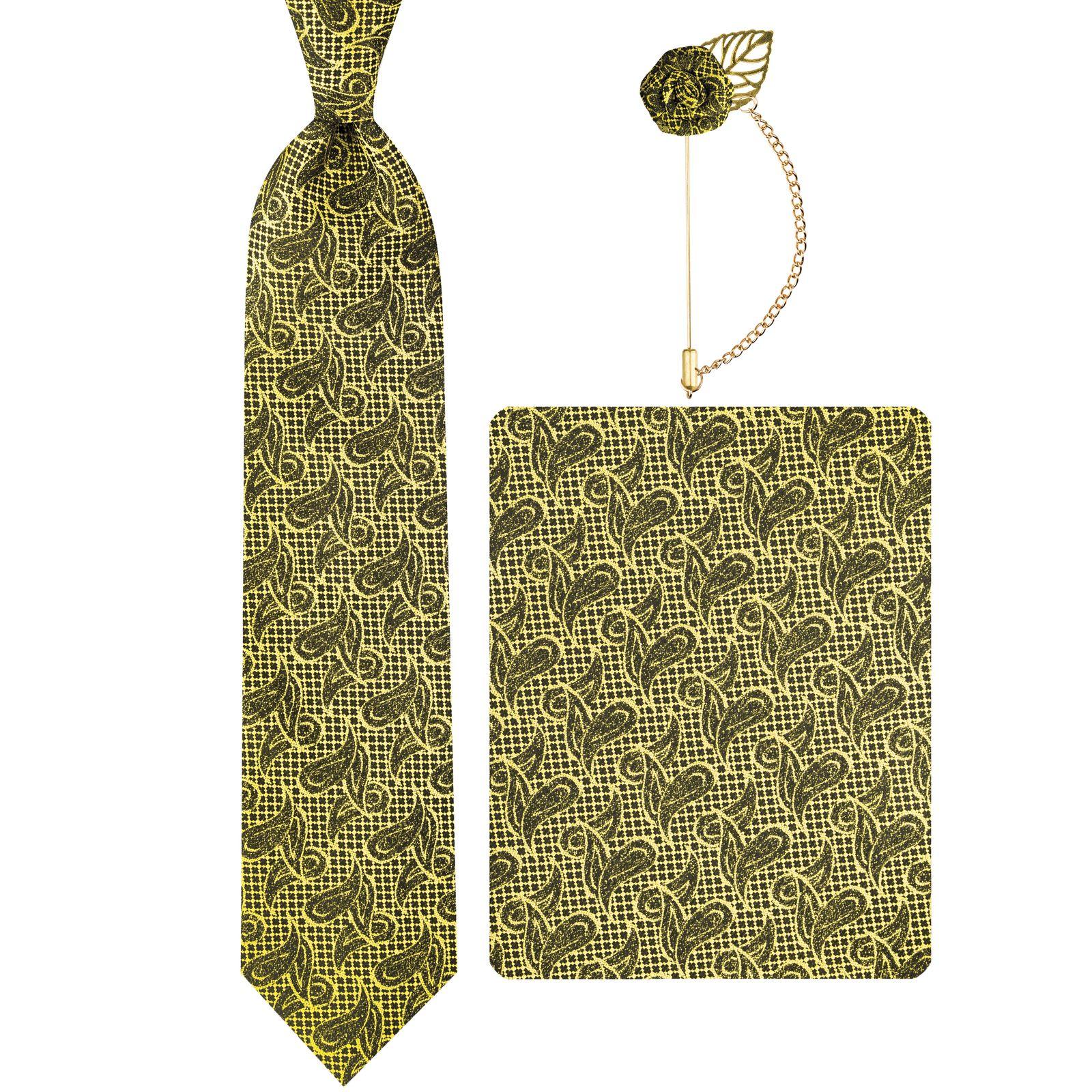 ست کراوات و دستمال جیب و گل کت مردانه جیان فرانکو روسی مدل GF-PA928-GO -  - 2